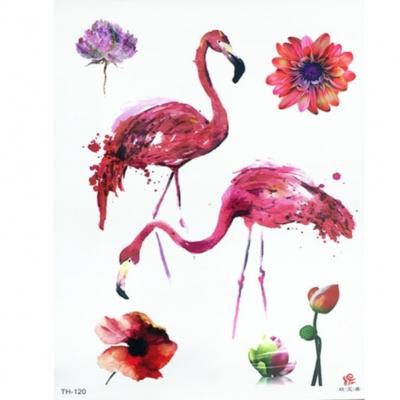 Temporäres Tattoo Flamingo Blume Design Temporary Klebetattoo Körperkunst - 1