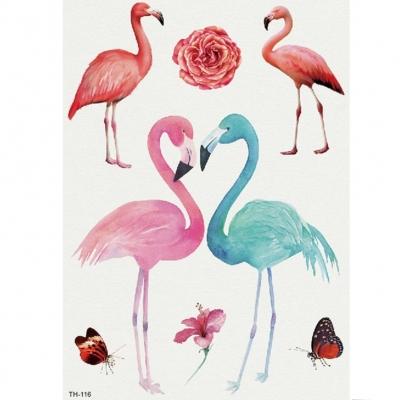 Temporäres Tattoo Flamingo Blume Schmetterling Design Temporary Klebetattoo Körperkunst - 1