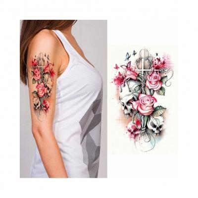 Temporäres Tattoo Totenkopf Rosen Design Temporary Klebetattoo Körperkunst - 2