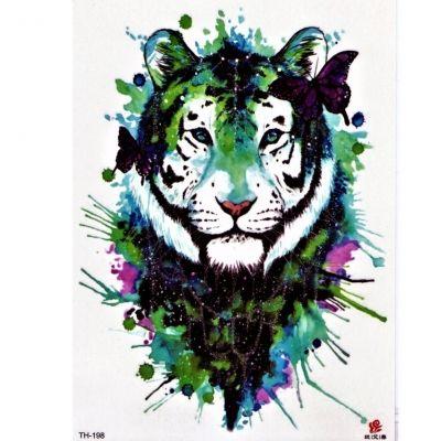 Temporäres Tattoo Tiger Schmetterlinge Design Temporary Klebetattoo Körperkunst - 1