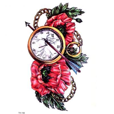 Temporäres Tattoo Uhr Zeit Vergänglichkeit Pfeil Design Temporary Klebetattoo Körperkunst - 1