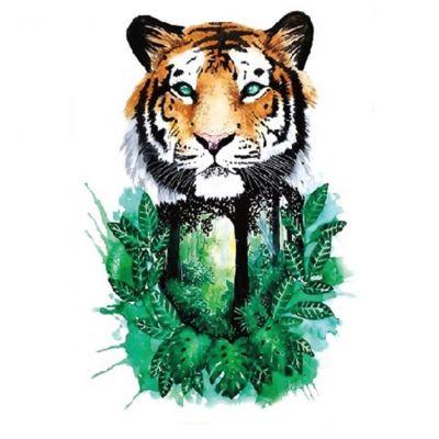 Temporäres Tattoo Tiger Tropischer Regenwald Design Temporary Klebetattoo Körperkunst - 1