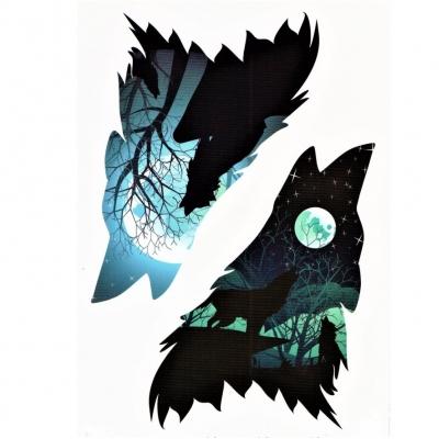 Temporäres Tattoo Wolf Wolfsmond Design Temporary Klebetattoo Körperkunst - 1
