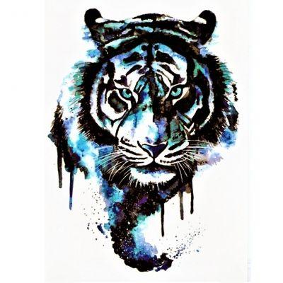 Temporäres Tattoo Blauer Tiger Bunt Design Temporary Klebetattoo Körperkunst - 1