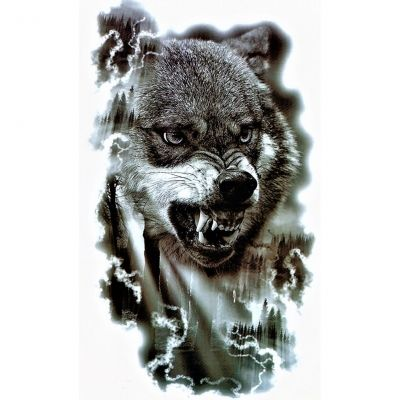Temporäres Tattoo Wolf Wald Design Temporary Klebetattoo Körperkunst - 1