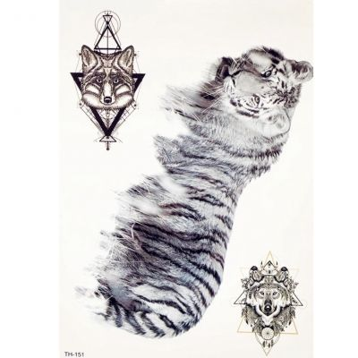 Temporäres Tattoo Tiger Wolf Design Temporary Klebetattoo Körperkunst - 1