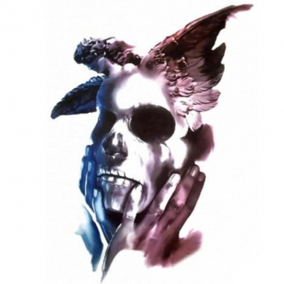 Temporäres Tattoo Totenkopf Engel Design Temporary Klebetattoo Körperkunst - 1