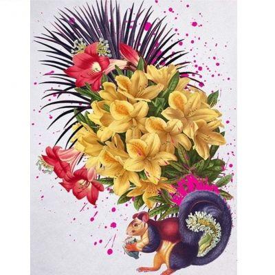Temporäres Tattoo Eichhörnchen Blumen Design Temporary Klebetattoo Körperkunst - 1
