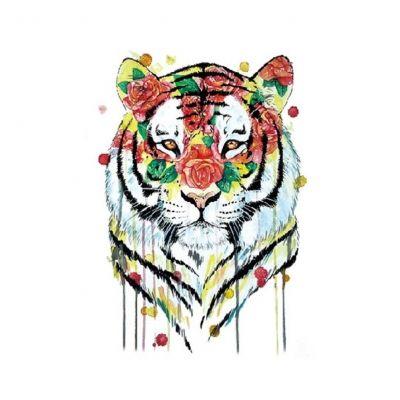 Temporäres Tattoo Tiger Bunt Rosen Design Temporary Klebetattoo Körperkunst - 1