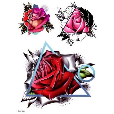 Temporäres Tattoo Rosen Dreieck Design Temporary Klebetattoo Körperkunst - 1