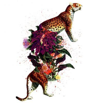 Temporäres Tattoo Tiger Blumen Design Temporary Klebetattoo Körperkunst - 1