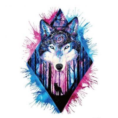Temporäres Tattoo Wolf Wald Lila Blau Design Temporary Klebetattoo Körperkunst - 1