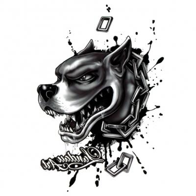 Temporäres Tattoo Pit Bull Hund Design Temporary Klebetattoo Körperkunst - 1