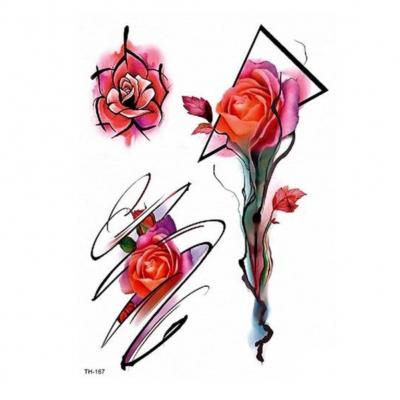 Temporäres Tattoo Rose Blume Design Temporary Klebetattoo Körperkunst - 1
