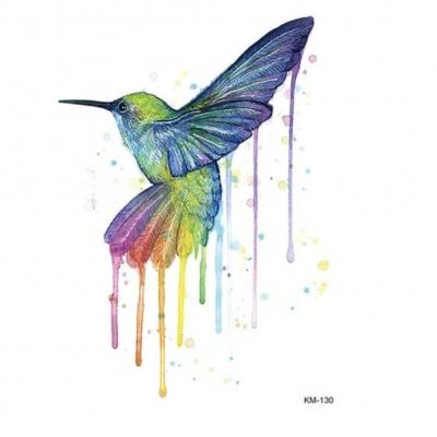 Temporäres Tattoo Kolibri Vogel Bunt Design Temporary Klebetattoo Körperkunst - 1