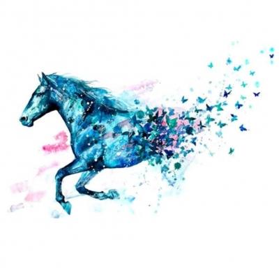Temporäres Tattoo Pferd Schmetterling Blau Design Temporary Klebetattoo Körperkunst - 1