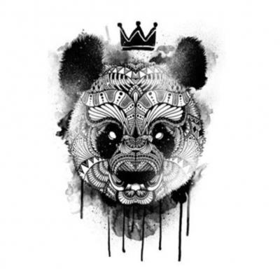 Temporäres Tattoo Panda mit Krone Design Temporary Klebetattoo Körperkunst - 1