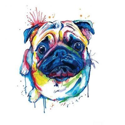 Temporäres Tattoo Mops Hund Pug Bunt Design Temporary Klebetattoo Körperkunst - 1