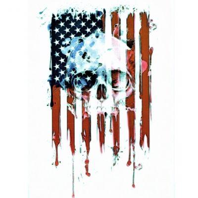 Temporäres Tattoo USA Amerika Flagge Totenkopf Design Temporary Klebetattoo Körperkunst - 1