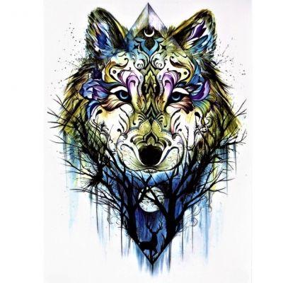 Temporäres Tattoo Wolf Wald Bunt Design Temporary Klebetattoo Körperkunst - 1