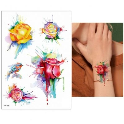 Temporäres Tattoo Rose Spatz Bunt Design Temporary Klebetattoo Körperkunst