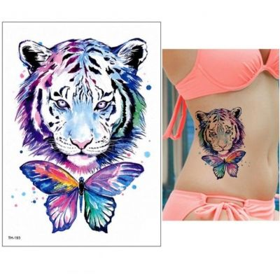 Temporäres Tattoo Tiger Schmetterling Bunt Design Temporary Klebetattoo Körperkunst - 2