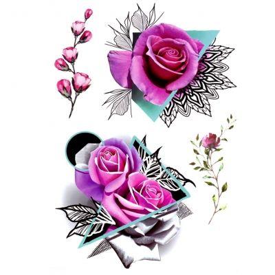 Temporäres Tattoo Rose Design Temporary Klebetattoo Körperkunst - 1
