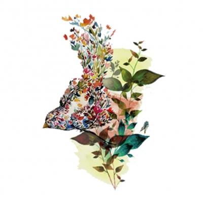 Temporäres Tattoo Vogel Blume Design Temporary Klebetattoo Körperkunst - 1