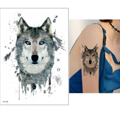 Temporäres Tattoo Wolf Design Temporary Klebetattoo Körperkunst