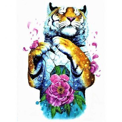Temporäres Tattoo Tiger Blume Bunt Design Temporary Klebetattoo Körperkunst - 1