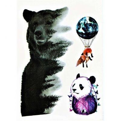 Temporäres Tattoo Bär Panda Fuchs Design Temporary Klebetattoo Körperkunst - 1