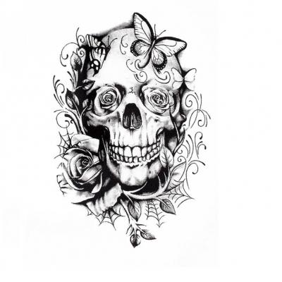 Temporäres Tattoo Totenkopf Rosen Design Temporary Klebetattoo Körperkunst - 1