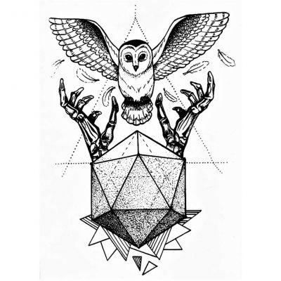 Temporäres Tattoo Uhu Eule Design Temporary Klebetattoo Körperkunst - 1