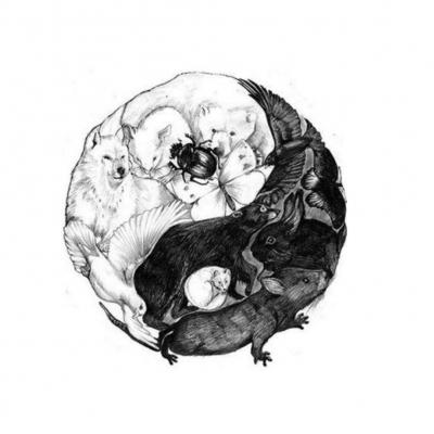 Temporäres Tattoo Yin und Yang Tiere Design Temporary Klebetattoo Körperkunst - 1