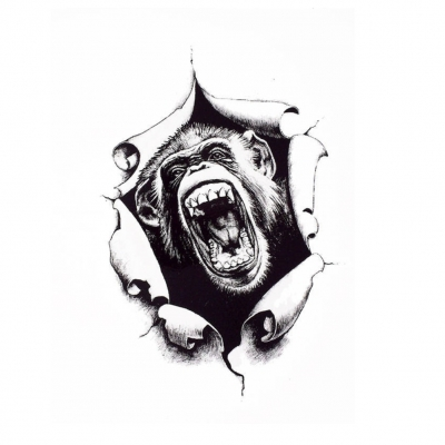 Temporäres Tattoo Schimpanse Affe Design Temporary Klebetattoo Körperkunst - 1
