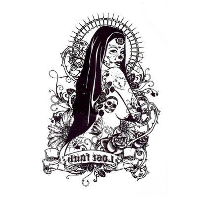Temporäres Tattoo La Catrina Day of the Dead Design Temporary Klebetattoo Körperkunst - 1