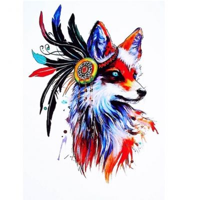 Temporäres Tattoo Fuchs mit Haarband Bunt Design Temporary Klebetattoo Körperkunst - 1
