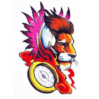 Temporäres Tattoo Löwe Bunt Design Temporary Klebetattoo Körperkunst - 1