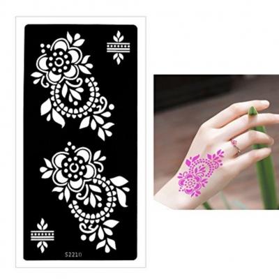 Henna Tattoo Schablone Airbrush Stencil Blumen - 1
