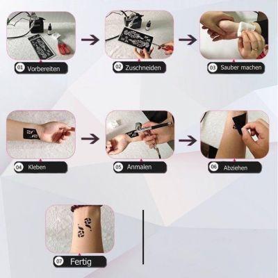 Henna Tattoo Schablone Airbrush Stencil Lotosblumen - 2