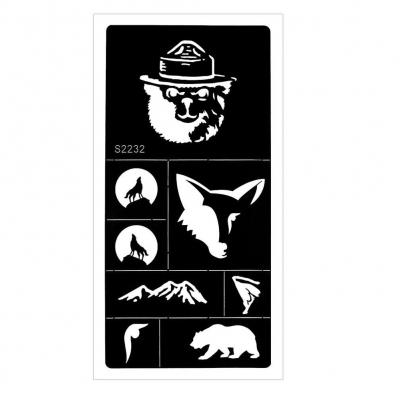 Henna Tattoo Schablone Airbrush Stencil Wolf Bär Berge - 1