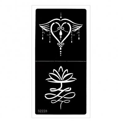 Henna Tattoo Schablone Airbrush Stencil Blume Herz Lotusblume - 1