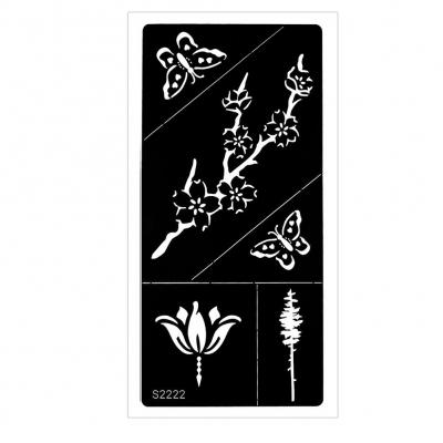 Henna Tattoo Schablone Airbrush Stencil Blume Schmetterling Kirschblüte - 1