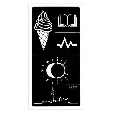 Henna Tattoo Schablone Airbrush Stencil Eis Buch Sonne Mond - 1