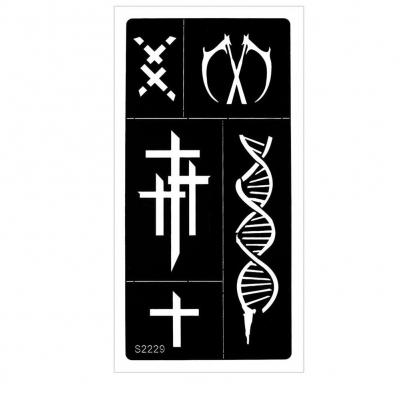Henna Tattoo Schablone Airbrush Stencil Kreuz DNA Strang Gothic - 1