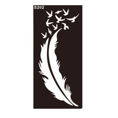 Henna Tattoo Schablone Airbrush Stencil Feder Vögel - 1