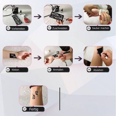 Henna Tattoo Schablone für die Rechte oder Linke Hand - 1
