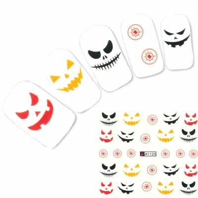 Tattoo Nail Halloween Spinne Katze Aufkleber Nagel Sticker