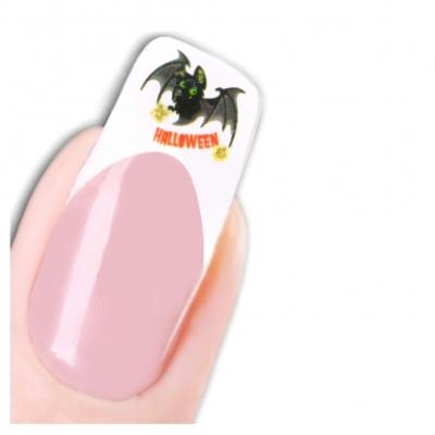 Tattoo Nail Halloween Kürbis Fledermaus Glitzer Aufkleber Nagel Sticker - 1