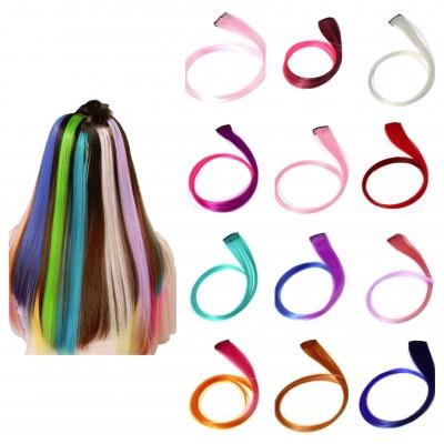Clip Extensions Kunsthaar Glatt Haarverlängerung Lila Neonpink - 1